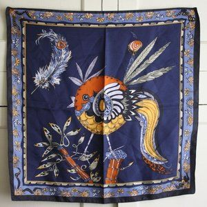 Vintage Silk Reine Seide Bird and Feather Scarf